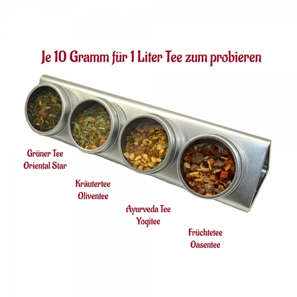 Tee Probierset 4x10g mit Gewuerztee, gruener Tee, Fruechtetee, Kraeutertee