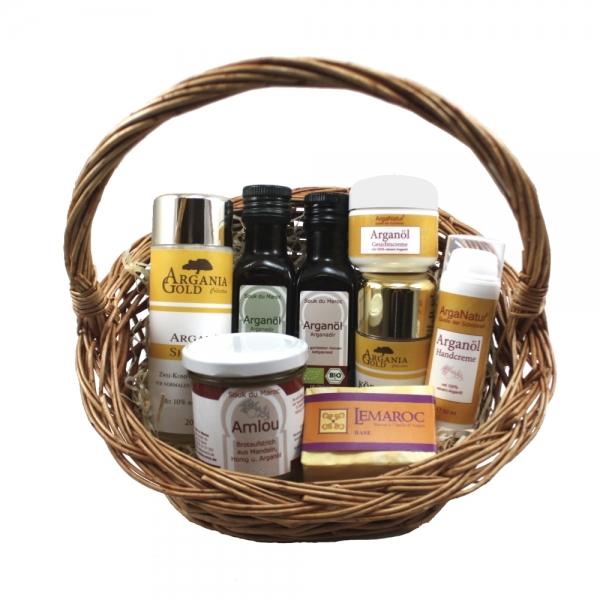 Arganöl Premium-Set 8teilig mit Arganöl, Seife, Shampoo Amlou und Cremes als Geschenkset