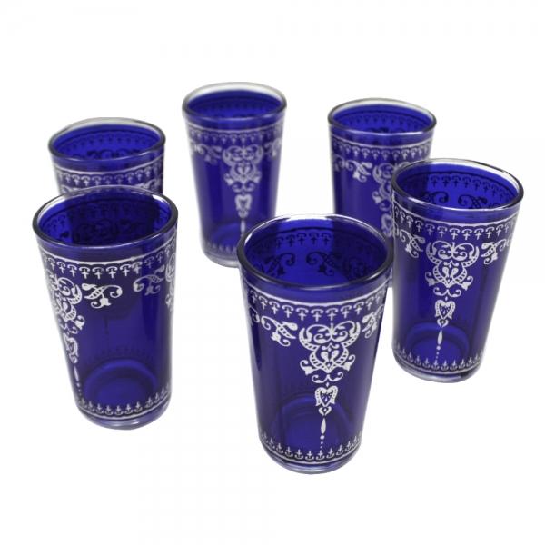Orient Teegläser Jamil 6er aus 1001 Nacht königs-blau