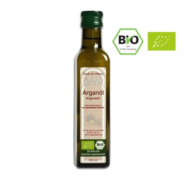 100% Bio Argan-Speise-Öl | geröstet | kaltgepresst und Rein | 250ml mit Ausguss
