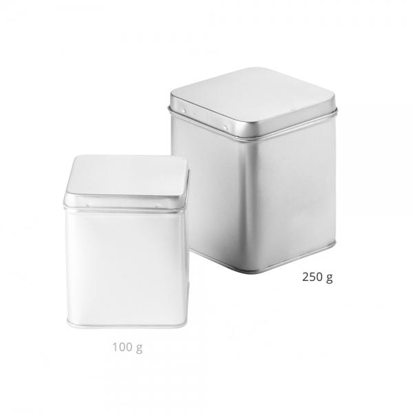 Teedose silber mit Scharnier 250g
