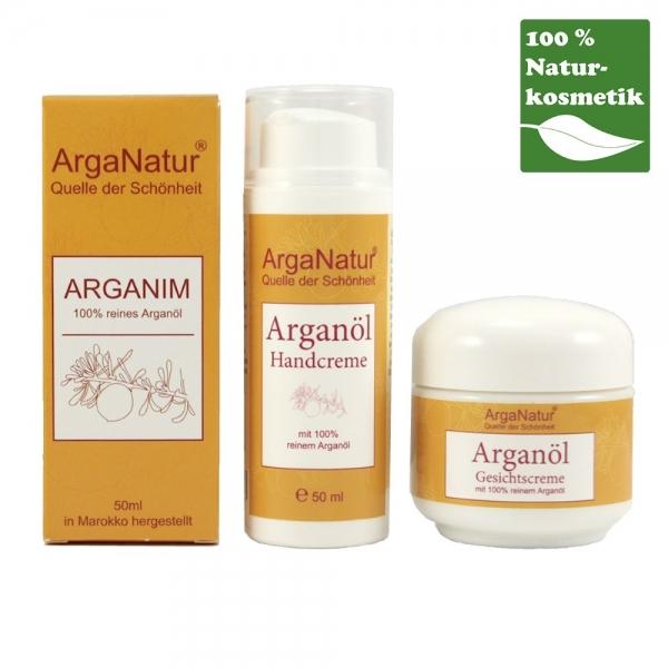 ArgaNatur Premium Set mit Arganöl, Hand- und Gesichtscreme