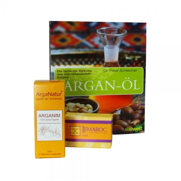 Arganöl Kosmetik-Basic-Set mit Arganöl, Seife und Buch Geschenkset