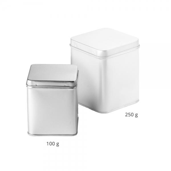 Teedose silber mit Scharnier 100g