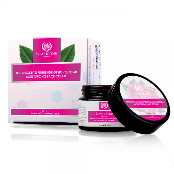 LAVENDROSE 5in1 Feuchtigkeitsspendende Gesichtscreme mit Rosenöl & Vitamin A, B5, E 50ml