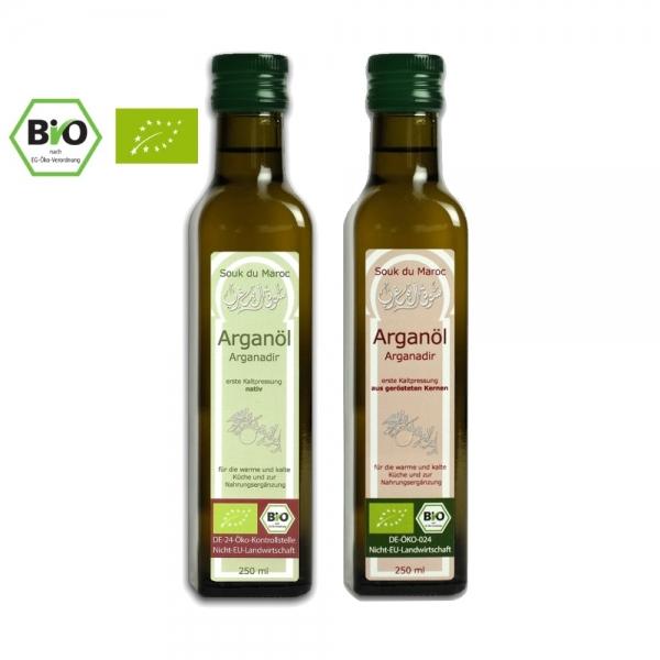 Bio Arganöl Geschenkpaket 2x250ml nativ und geröstet