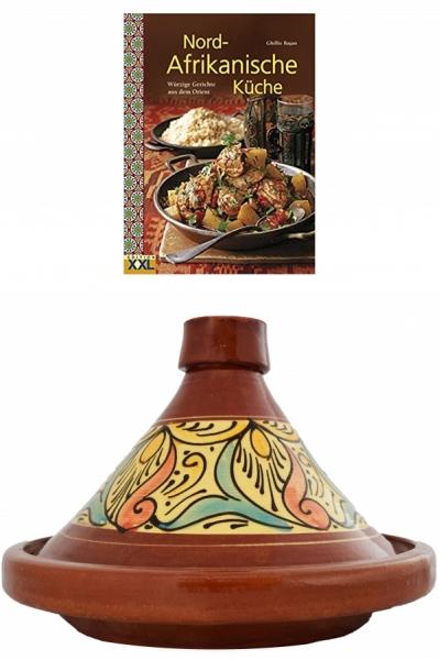 2er Set, Marokko Tajine Topf Chaouen 35cm + Nord-Afrikanische Küche Kochbuch