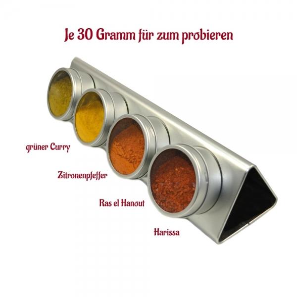 Orient-Gewürze Probierset 4x30g mit Harissa, Ras el Hanout, Zitronenpfeffer und grüner Curry