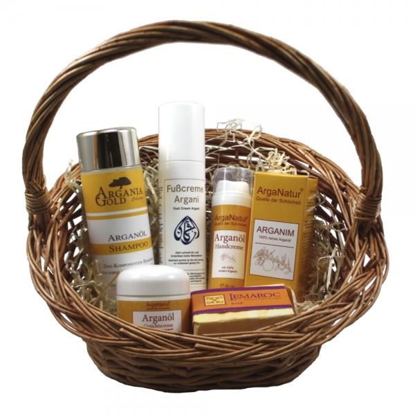 Arganöl Kosmetik-Star-Set 6teilig mit Arganöl, Seife, Shampoo und Cremes als Geschenkset